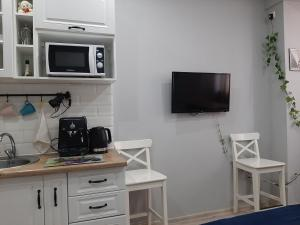 A television and/or entertainment centre at Apartment on Yubileyniy prospect