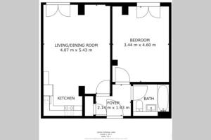 The floor plan of Luxury 1 Bed Flat in St Albans, Modern, WiFi, Six Minutes from Train Station