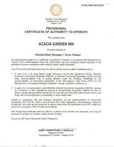 Un certificat, premiu, logo sau alt document afișat la Acacia Garden Inn
