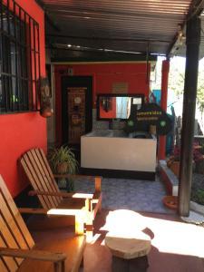 The lobby or reception area at Hotel y Restaurante Playa Linda