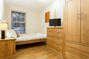A television and/or entertainment center at Stylish 2 bed apartment at Smeaton Court, Newbury