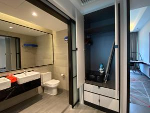 A bathroom at theRED One KLCC