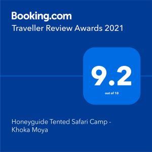 תעודה, פרס, שלט או מסמך אחר המוצג ב-Honeyguide Tented Safari Camp - Khoka Moya