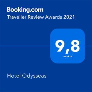 Πιστοποιητικό, βραβείο, πινακίδα ή έγγραφο που προβάλλεται στο Ξενοδοχείο Οδυσσέας
