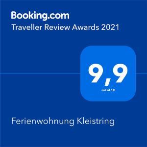 Certifikát, hodnocení, plakát nebo jiný dokument vystavený v ubytování Ferienwohnung Kleistring