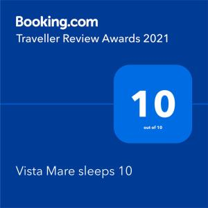 A certificate, award, sign, or other document on display at Vista Mare sleeps 10