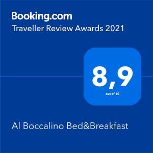 Ein Zertifikat, Auszeichnung, Logo oder anderes Dokument, das in der Unterkunft Al Boccalino Bed&Breakfast ausgestellt ist