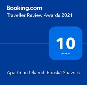 Certifikát, ocenenie alebo iný dokument vystavený v ubytovaní Apartman Okamih Banská Štiavnica