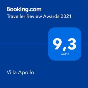 Ein Zertifikat, Auszeichnung, Logo oder anderes Dokument, das in der Unterkunft Villa Apollo ausgestellt ist