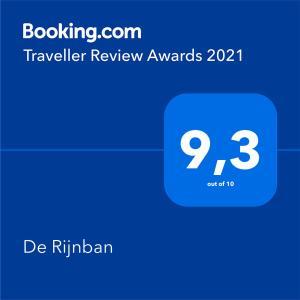 Ett certifikat, pris eller annat dokument som visas upp på B&B De Rijnban