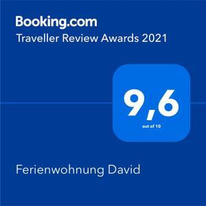 Ein Zertifikat, Auszeichnung, Logo oder anderes Dokument, das in der Unterkunft Ferienwohnung David ausgestellt ist