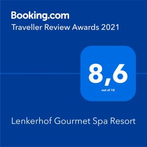 A certificate, award, sign or other document on display at Lenkerhof Gourmet Spa Resort