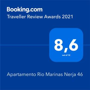 A certificate, award, sign, or other document on display at Apartamento Rio Marinas Nerja 46