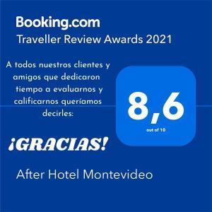 Um certificado, prêmio, placa ou outro documento exibido em After Hotel Montevideo