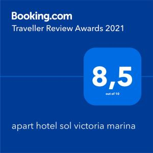 A certificate, award, sign or other document on display at apart hotel sol victoria marina