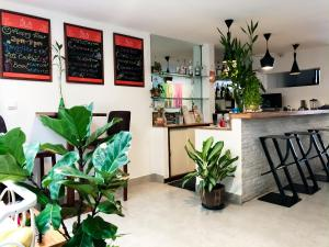 The lobby or reception area at Sla Boutique Hostel
