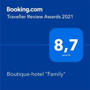 """A certificate, award, sign or other document on display at Boutique-hotel """"Family"""""""