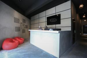 The lobby or reception area at Modular Langkawi Capsule Hotel
