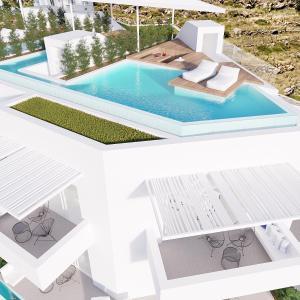 Pemandangan kolam renang di Mykonos Dove Beachfront Hotel atau di dekatnya