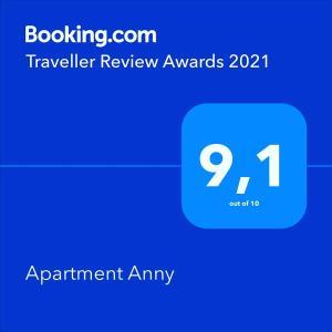 Ein Zertifikat, Auszeichnung, Logo oder anderes Dokument, das in der Unterkunft Apartment Anny ausgestellt ist