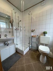 ห้องน้ำของ Ferienwohnung Kraft