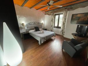 Cama o camas de una habitación en Hotel Mas Palou