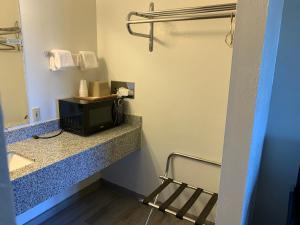 A bathroom at Landmark Inn