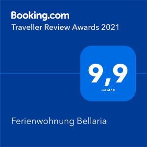 Ein Zertifikat, Auszeichnung, Logo oder anderes Dokument, das in der Unterkunft Ferienwohnung Bellaria ausgestellt ist