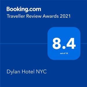 A certificate, award, sign, or other document on display at Dylan Hotel NYC