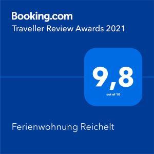 Certifikát, hodnocení, plakát nebo jiný dokument vystavený v ubytování Ferienwohnung Reichelt