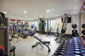 The fitness centre and/or fitness facilities at Hilton London Heathrow Terminal 4