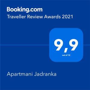 Certifikát, hodnocení, plakát nebo jiný dokument vystavený v ubytování Apartmani Jadranka