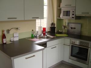 Küche/Küchenzeile in der Unterkunft Apartments am Elberadweg