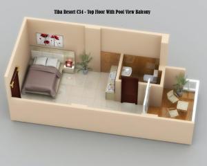 The floor plan of Pool View - Top Floor - Kitchenette - Balcony - Close to El Gouna - Tiba Resort C34