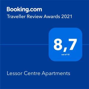 Сертификат, награда, вывеска или другой документ, выставленный в Lessor Apartments