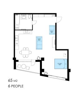 The floor plan of Studio Apartment with Fantastic view in Center