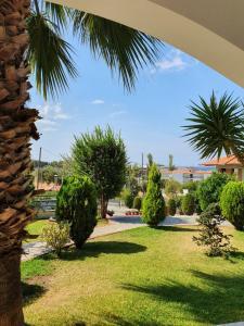 A garden outside Hotel Pefko