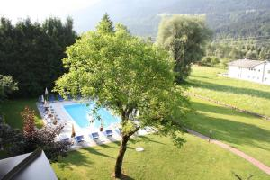 Ein Blick auf den Pool von der Unterkunft Ferienwohnungen Forellenhof Waldner oder aus der Nähe