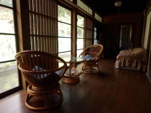 A seating area at Minshuku Goyomon