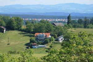 Blick auf Landhaus Eder aus der Vogelperspektive