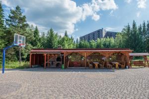 Un patio sau altă zonă în aer liber la Pensiunea Orizont