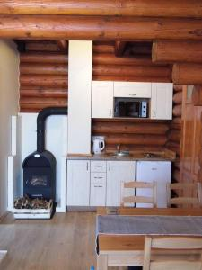 A kitchen or kitchenette at Sombereki Horgásztó - Rönkház