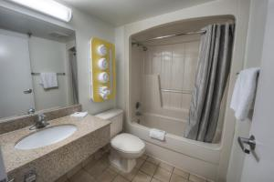A bathroom at Motel 6-Branford, CT - New Haven