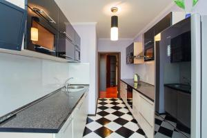 A kitchen or kitchenette at Daudel Apartments Maxima Gorkogo Street
