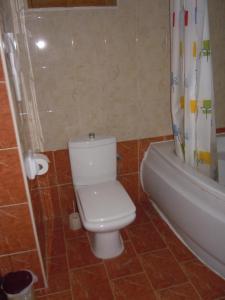 A bathroom at D-House
