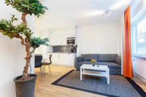 A seating area at ApartDirect Solna