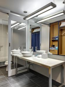 A bathroom at Aloft Brooklyn