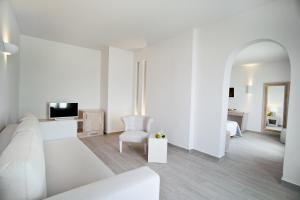 A seating area at Santorini Palace