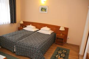 A bed or beds in a room at Hotel Pannonia
