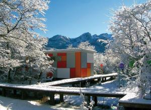 Cabañas Ecobox Andino during the winter